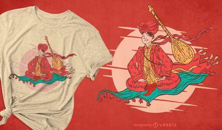 Design de camiseta com tapete voador