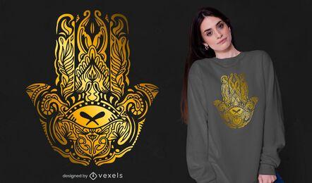Diseño de camiseta de mano de Hamsa dorada.
