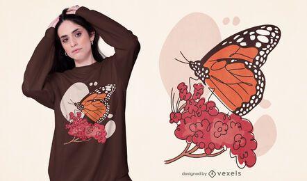 Diseño de camiseta de mariposa monarca