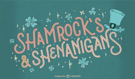 St Patricks shenanigans lettering