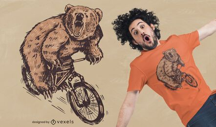 Design de camiseta com urso ciclista