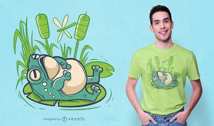 Diseño de camiseta chill frog