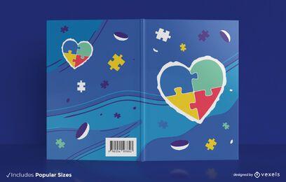 Design de capa de livro de coração quebra-cabeça