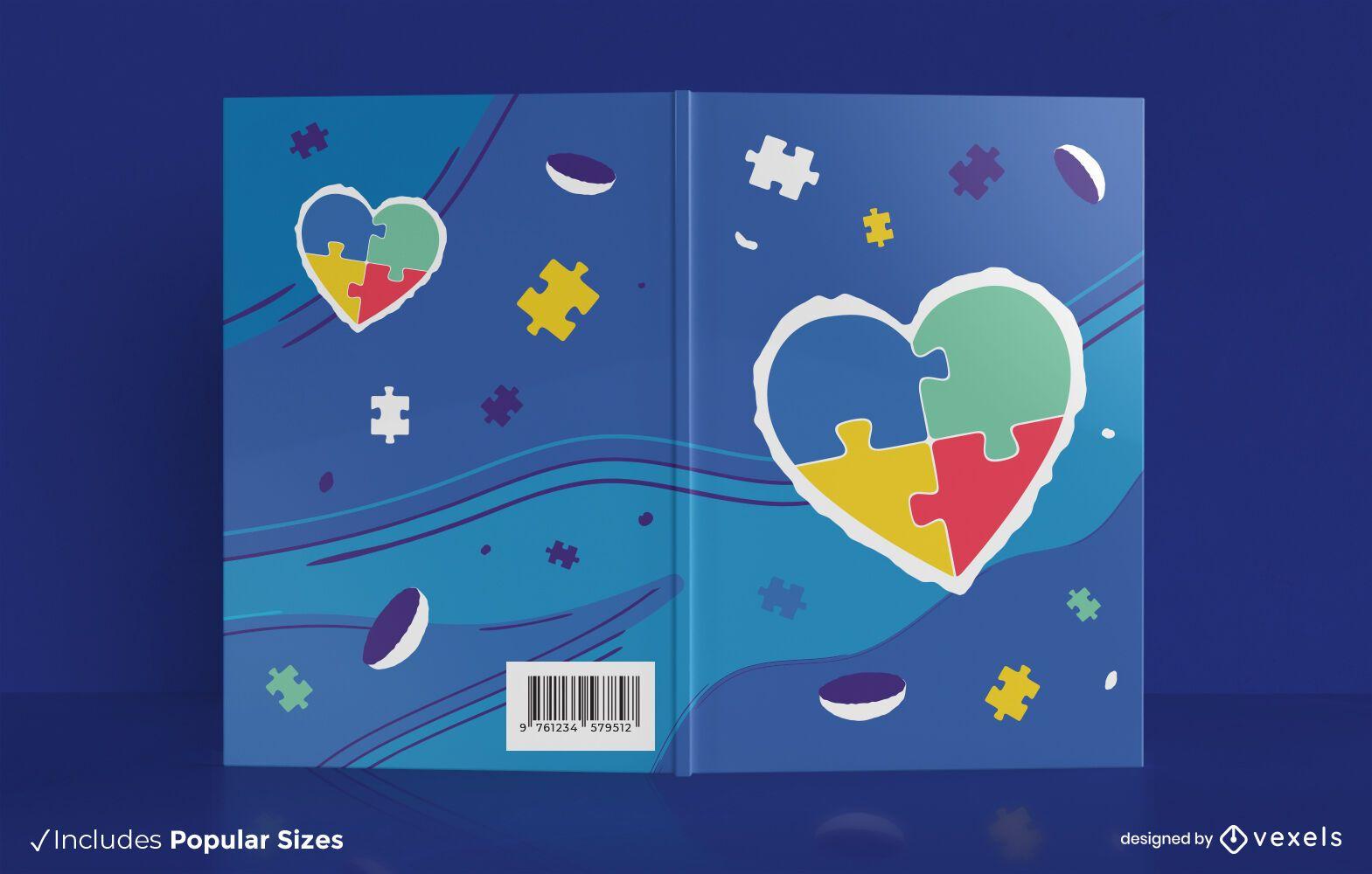 Diseño de portada de libro de corazón de rompecabezas