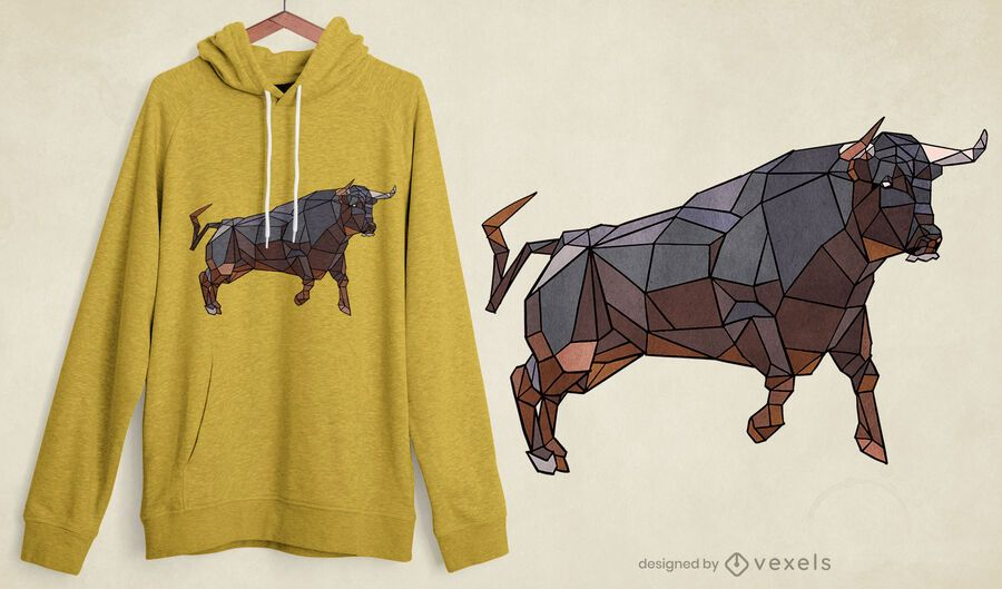 Bull low poly t-shirt design