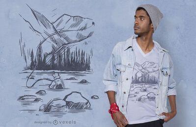 Diseño de camiseta de pescador dibujado a mano.