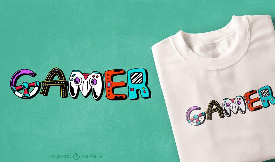 Diseño de camiseta con letras de elementos de jugador