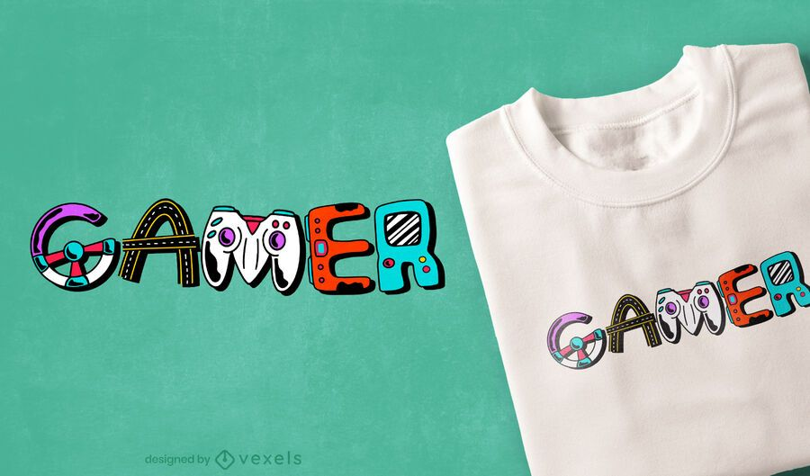 Gamer Element Schriftzug T-Shirt Design