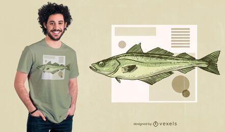 Diseño de camiseta de pez Pollock