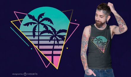 Neon palm tree t-shirt design