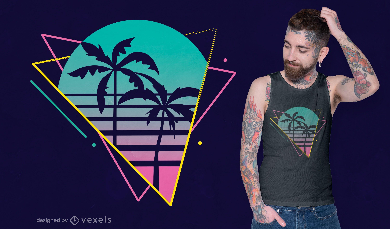 Diseño de camiseta de palmera de neón