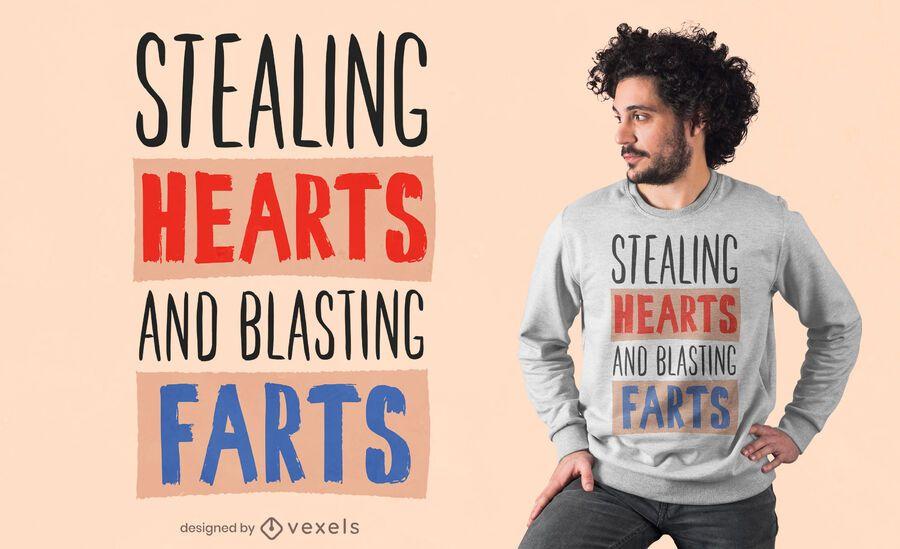Diseño de camiseta Hearts farts