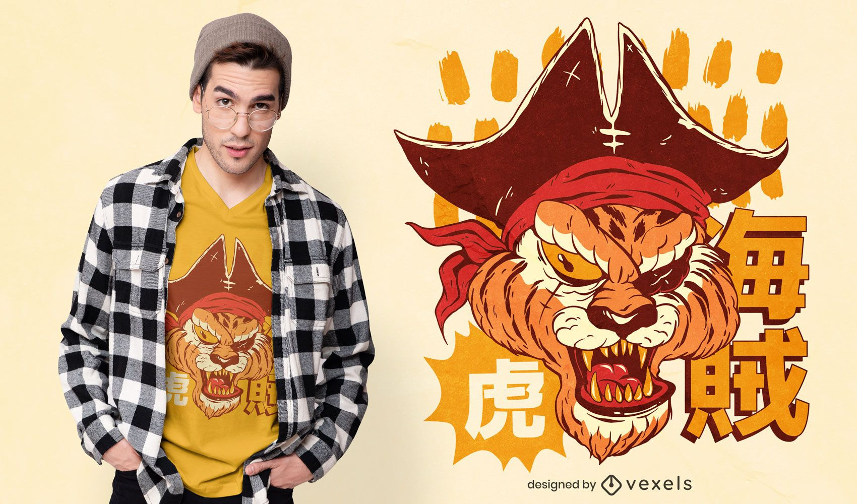 Diseño de camiseta pirata tigre