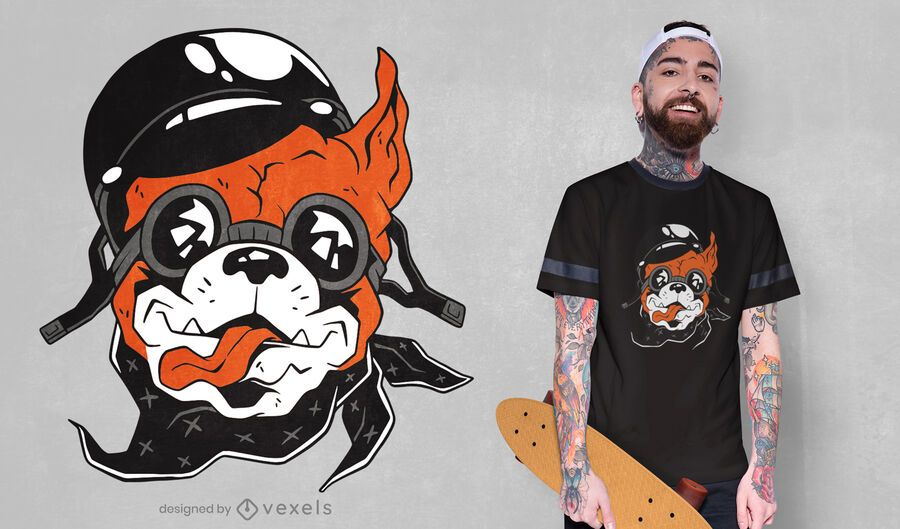 Diseño de camiseta de perro motero