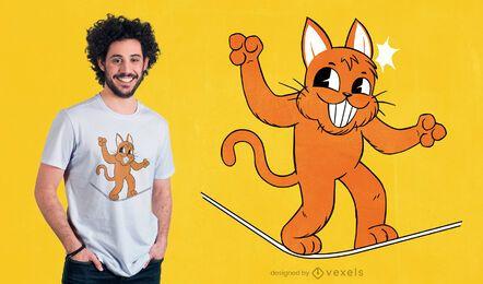 Diseño de camiseta de gato Slacklining