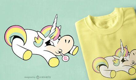 Design de camiseta de Unicórnio doente