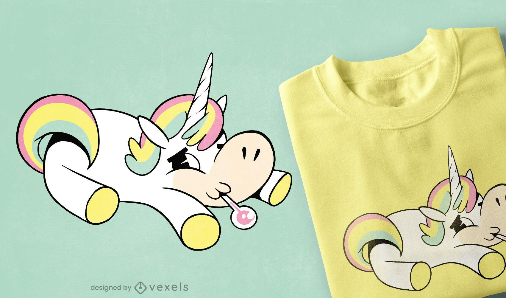 Diseño de camiseta de unicornio enfermo