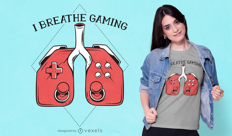 Design de camiseta com joystick de pulmão