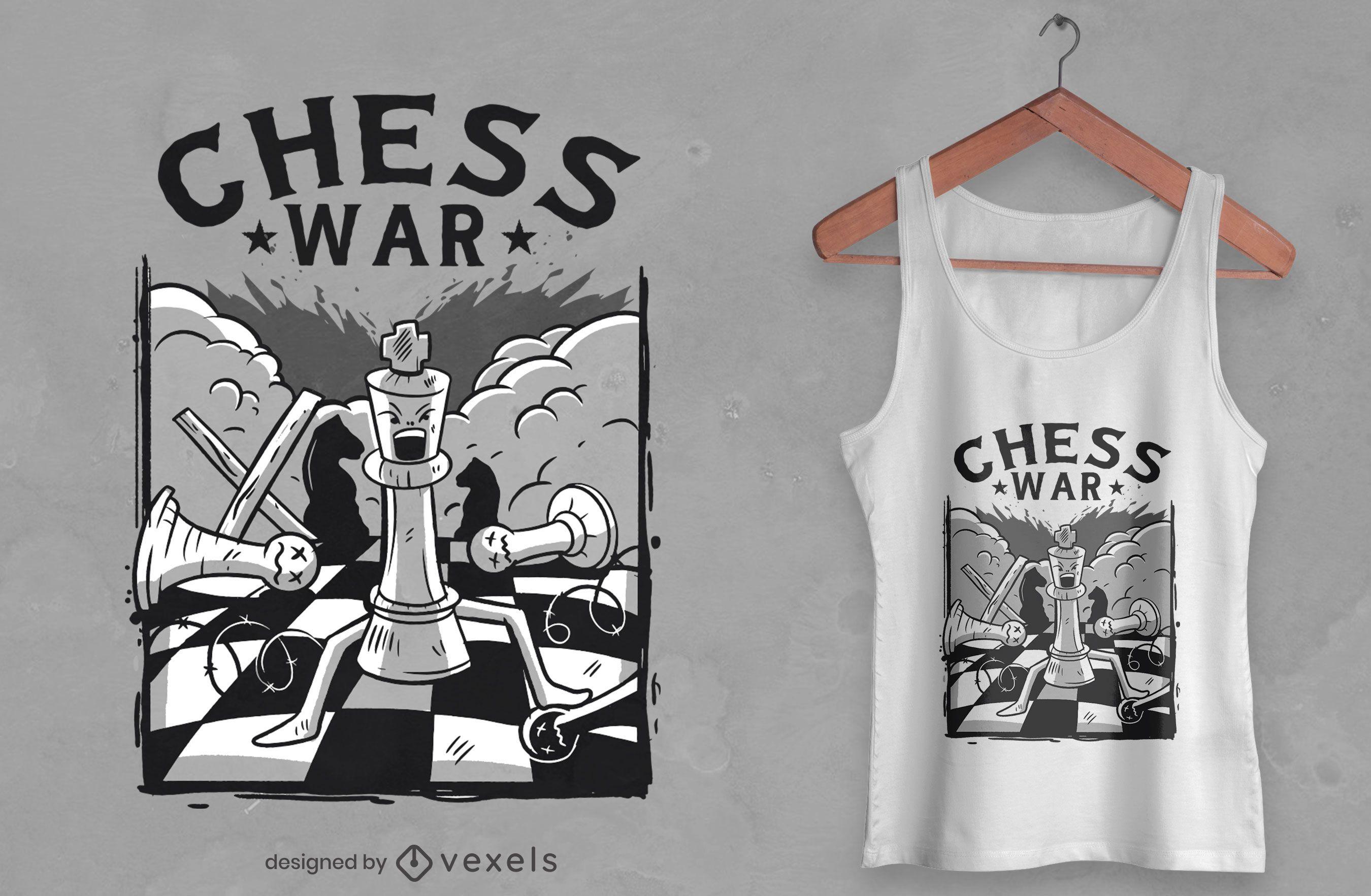 Diseño de camiseta de guerra de ajedrez.