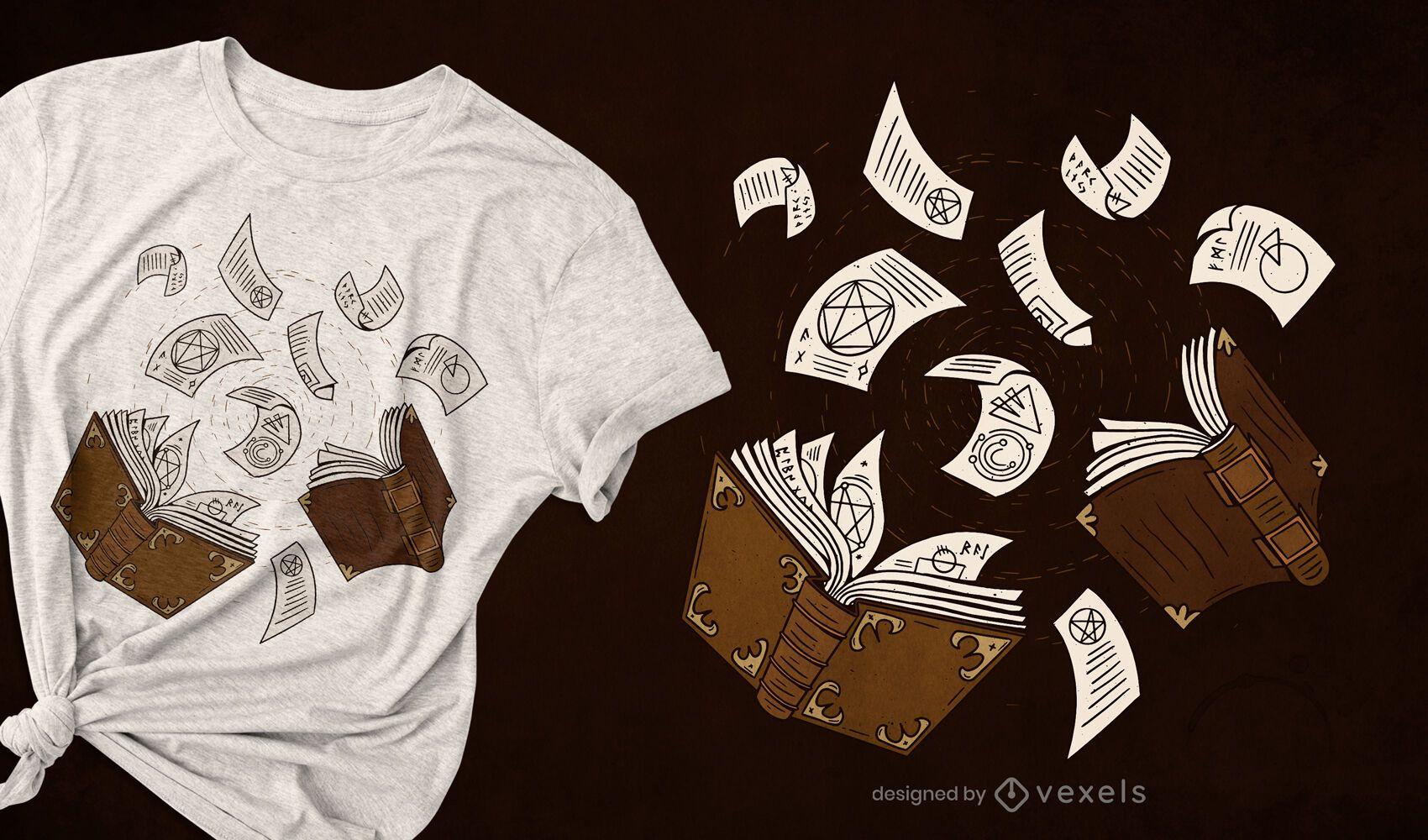 Diseño de camiseta de hechizos de libro.