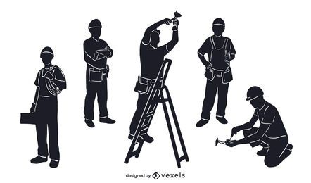 Electrician silhouette set