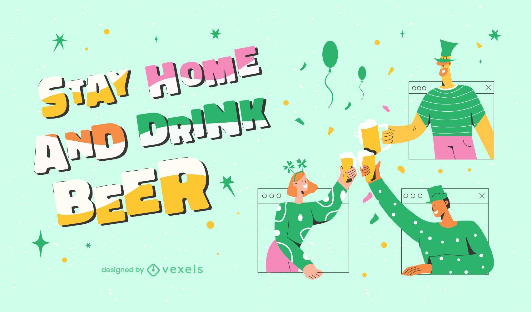 St Patrick's stay home illustration