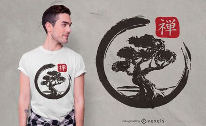 Design de camisetas Bonsai enso