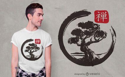 Diseño de camiseta bonsai enso