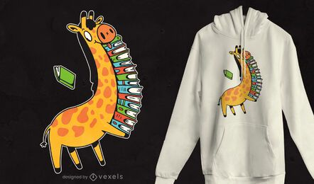 Diseño de camiseta de libros de jirafas.