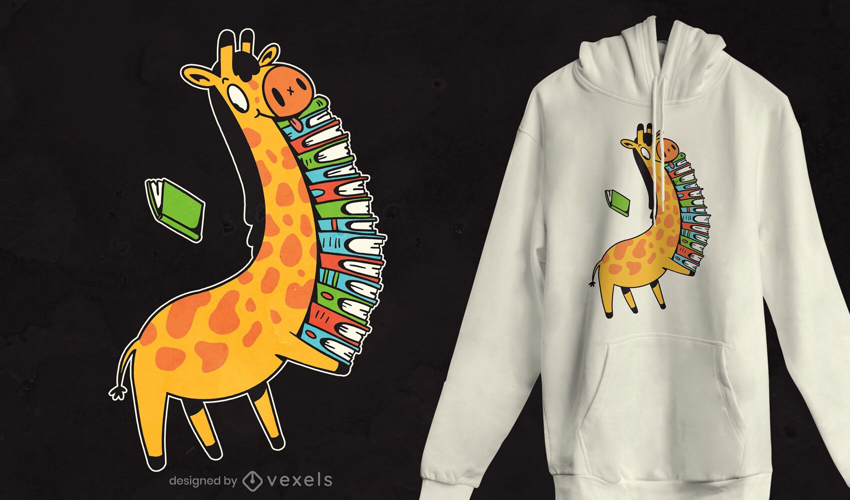 Giraffe books t-shirt design