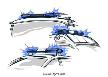 Luces de vehículos dibujadas a mano.