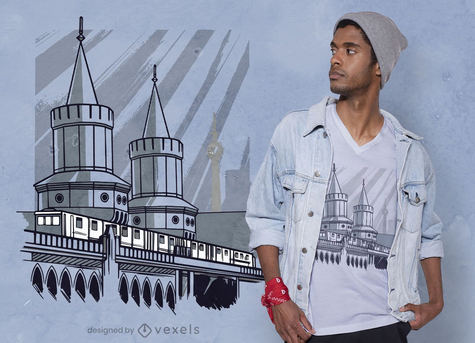 Diseño de camiseta de puente de tren