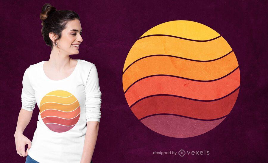 Diseño de camiseta curve retro sunset