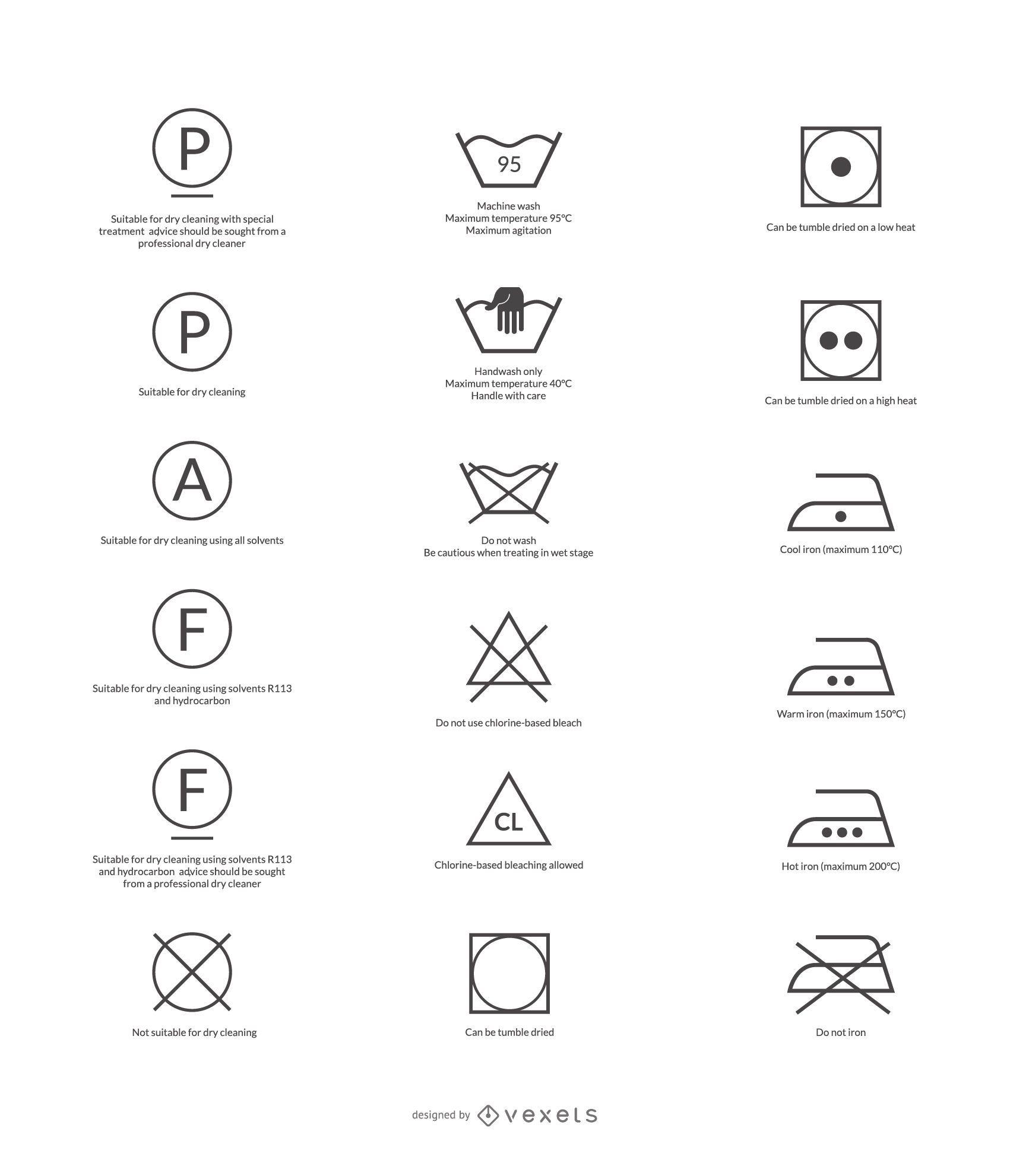 Pflegesymbole freier Vektor