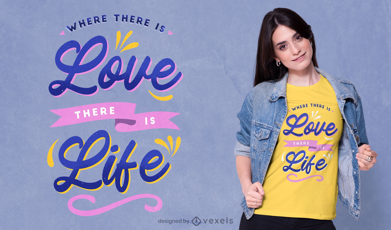 Onde há amor camiseta psd