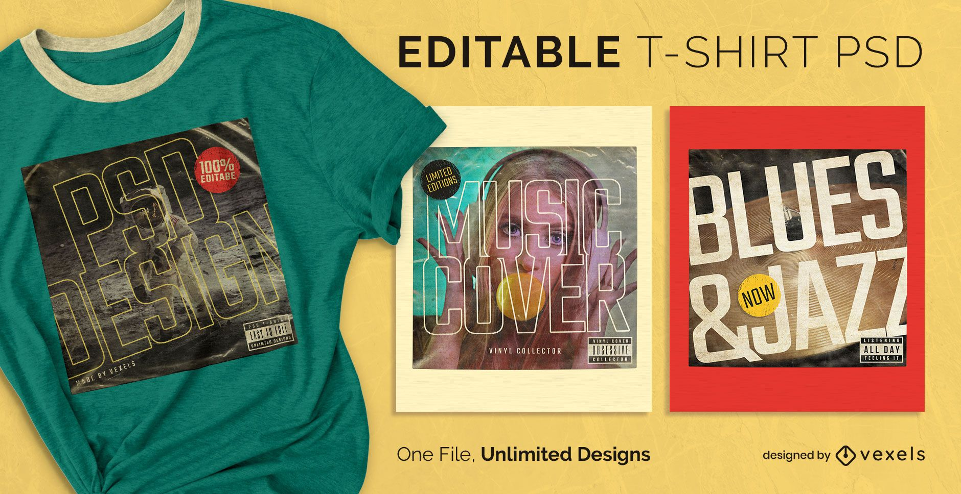 Vinyl cover scalable t-shirt psd