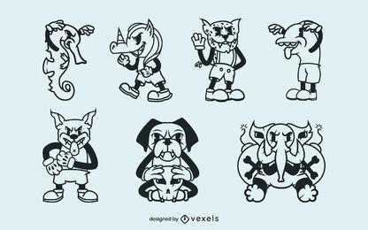 Conjunto de desenho animado retro animal