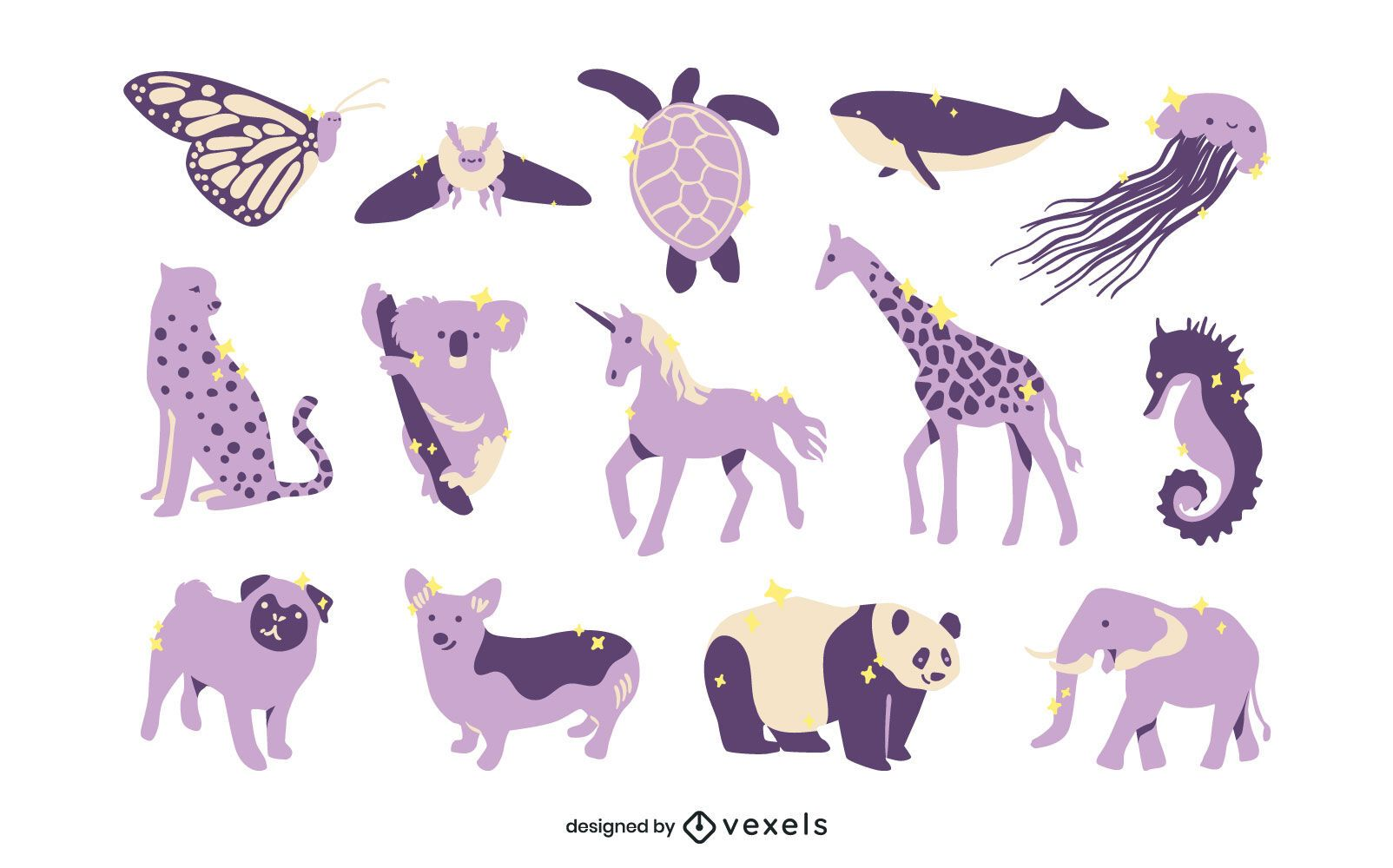 Conjunto animal lila