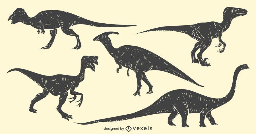Dinosaur hand-drawn set