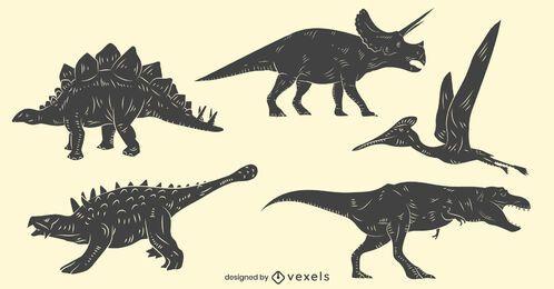 Conjunto de dinosaurios dibujados a mano
