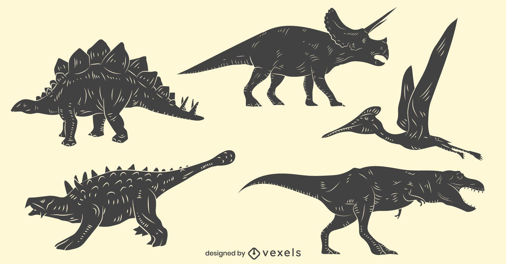 Conjunto de dinossauros desenhados ? m?o