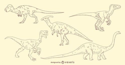 Hand-drawn dinosaur set