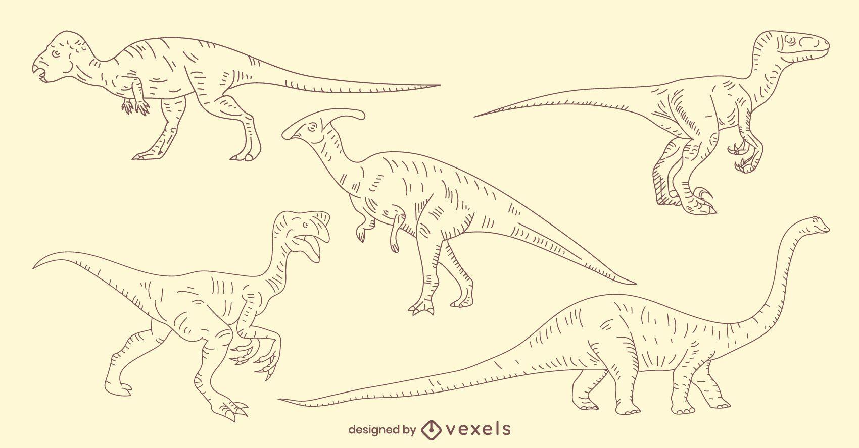 Hand-drawn dinosaur set