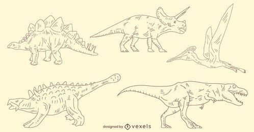 Conjunto de dinossauros desenhados à mão