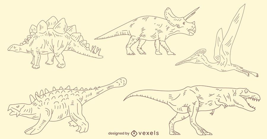 Hand-drawn dinosaurs set