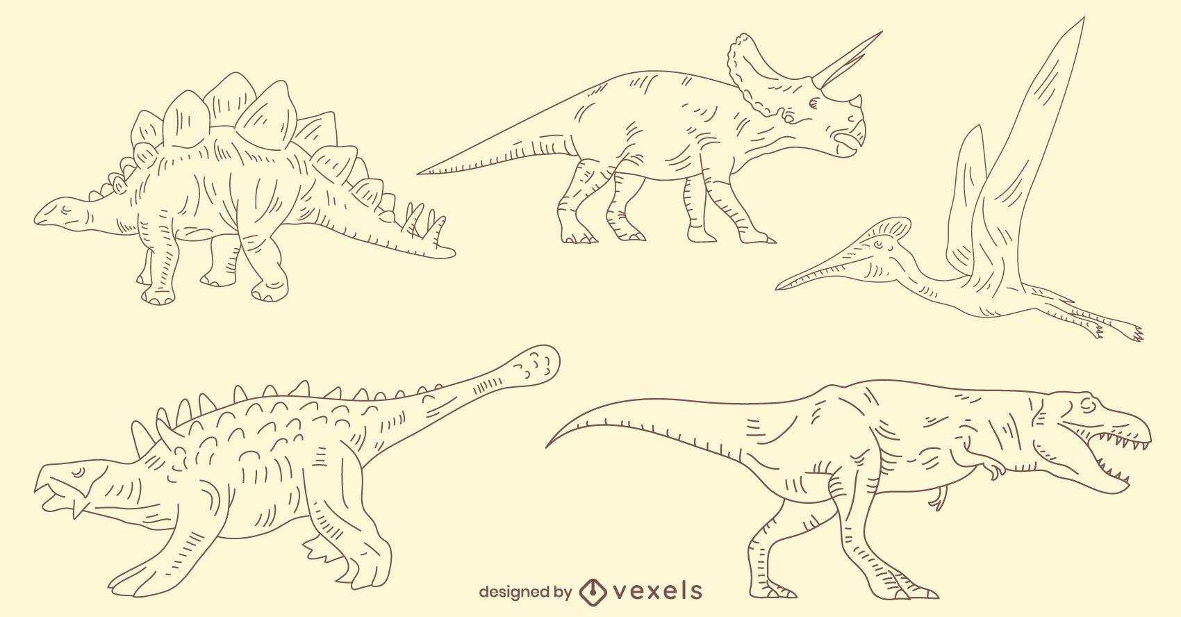 Hand-drawn dinosaurs set