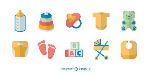 Conjunto de elementos bebê plano