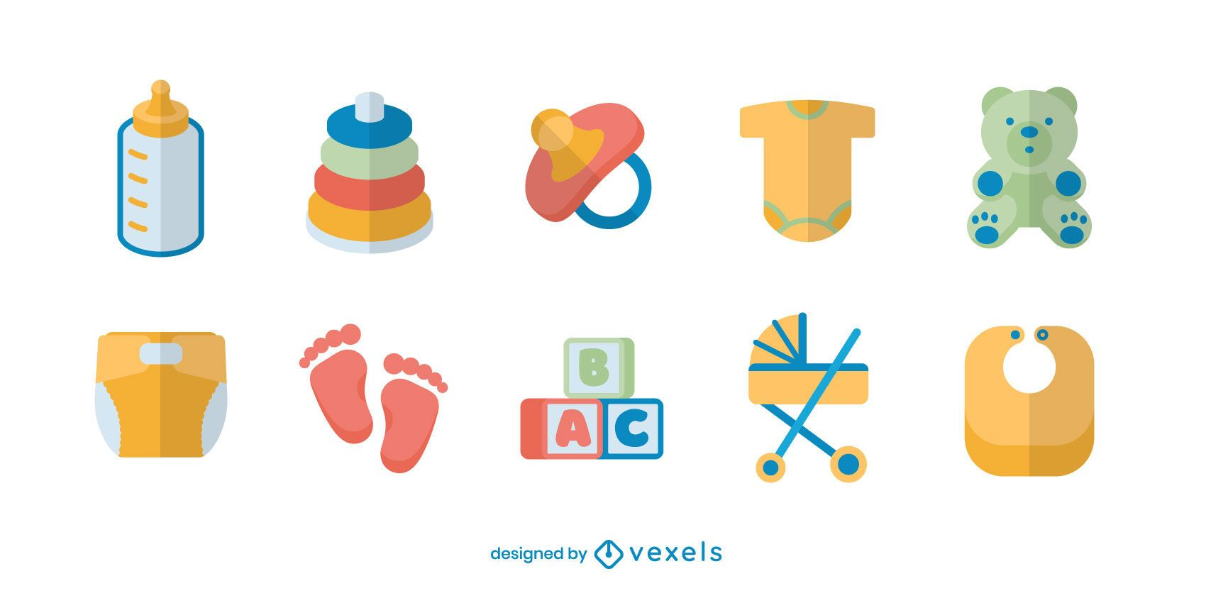 Conjunto de elementos de bebé plano
