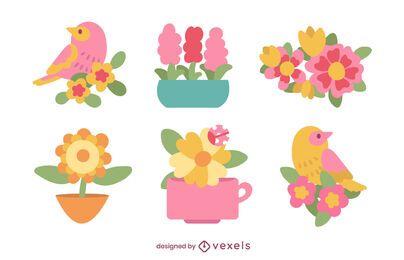 Conjunto plano de flores e pássaros