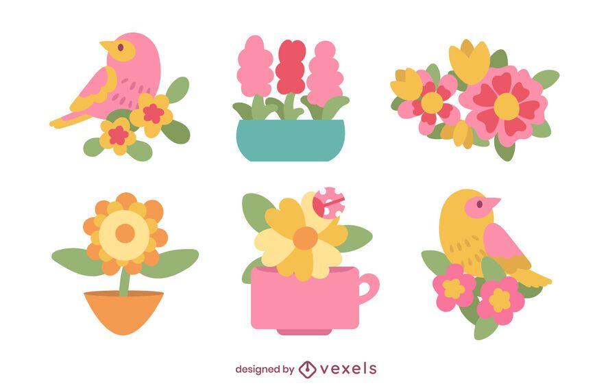 Conjunto plano de flores y pájaros.
